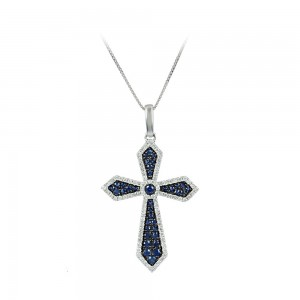 Woman's cross pendant with chain, White gold K18 with Sapphires and Diamonds Code 008305