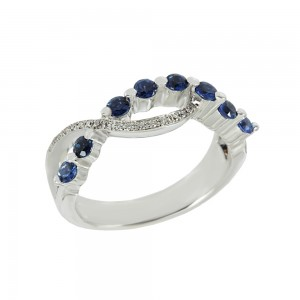Diamond ring White gold K18 with Diamonds and Sapphires Code 008312
