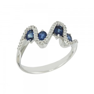 Diamond ring White gold K18 with Diamonds and Sapphires Code 008313