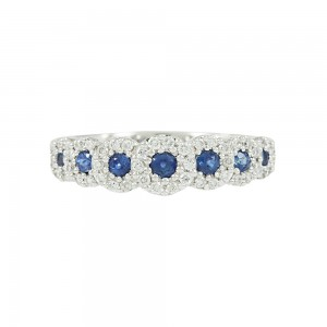 Diamond ring White gold K18 with Diamonds and Sapphires Code 008314