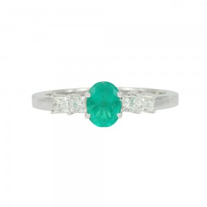 Diamond ring White gold K18 with Emerald and Diamonds Code 008317