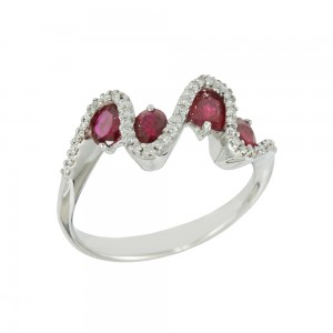 Diamond ring White gold K18 with Diamonds and Rubies Code 008320