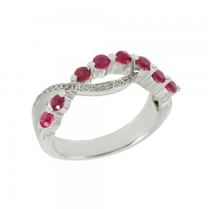 Diamond ring White gold K18 with Diamonds and Rubies Code 008323