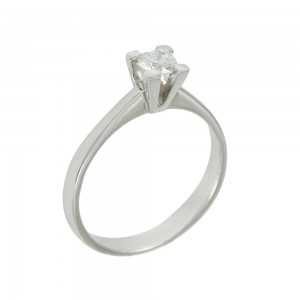 Solitaire ring White gold K18 with diamond Code 008382