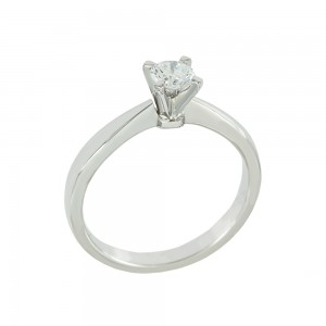 Solitaire ring White gold K18 with diamond GIA Certification Code 008616