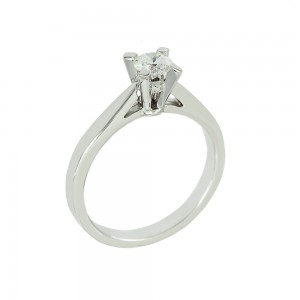 Solitaire ring White gold K18 with diamond GIA Certification Code 008617