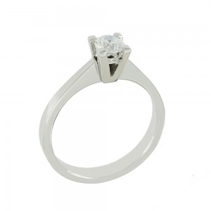 Solitaire ring White gold K18 with diamond GIA Certification Code 008618