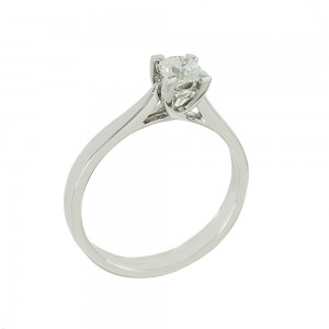 Solitaire ring White gold K18 with diamond GIA Certification Code 008619