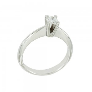 Solitaire ring White gold K18 with diamond GIA Certification Code 008622