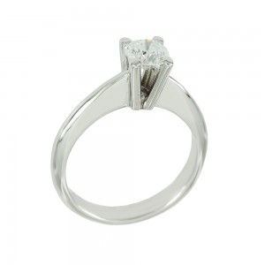 Solitaire ring White gold K18 with diamond GIA Certification Code 008623