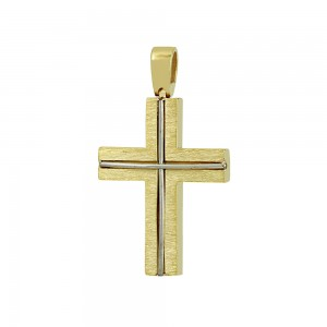 Men's cross Aneli collection  Yellow and white gold K18 Code 008658