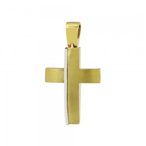 Men's cross Aneli collection Yellow and white gold K18 Code 008659