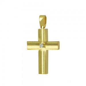 Woman's cross K18 Yellow gold with diamond Code 008660