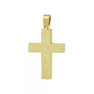 Woman's cross K18 Yellow gold with diamond Code 008661