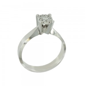 Solitaire ring White gold K18 with diamonds Brilliant cut code 008685