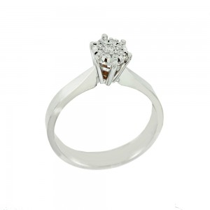 Solitaire ring White gold K18 with diamonds Brilliant cut code 008687