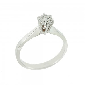 Solitaire ring White gold K18 with diamonds Brilliant cut code 008688