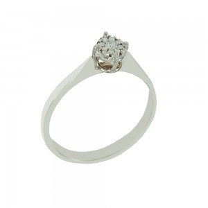 Solitaire ring White gold K18 with diamonds Brilliant cut code 008689