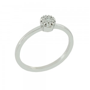 Solitaire ring White gold K18 with diamonds Brilliant cut code 008690