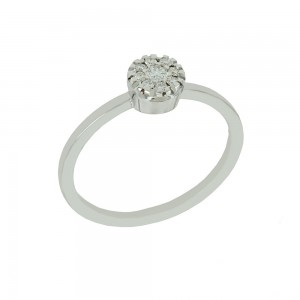 Solitaire ring White gold K18 with diamonds Brilliant cut code 008691