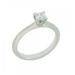 Solitaire ring White gold K18 with diamond GIA Certification Code 008714