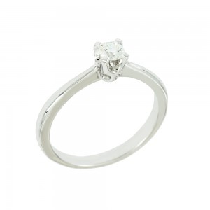 Solitaire ring White gold K18 with diamond GIA Certification Code 008721