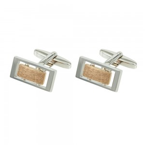 Men's cufflinks of Silver 925 White and pink gold plated Code 003957