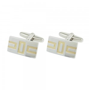 Men's cufflinks of Silver 925 White and yellow gold plated Code 005543