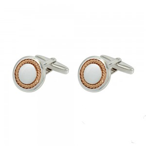 Men's cufflinks of Silver 925 White and pink gold plated Code 005546