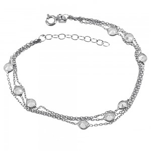Bracelet of 925 Silver White gold plated Code 004943
