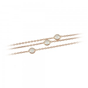 Bracelet of 925 Silver Pink gold plated Code 004944