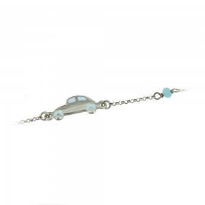 Bracelet for baby Car motif Silver 925 degrees White gold plated Code 005482