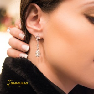 Earrings of Silver 925 White gold plated Code 006117