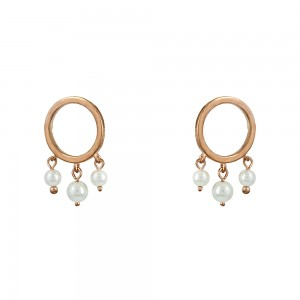 Earring rings Pink gold plated Silver 925 Code 006748