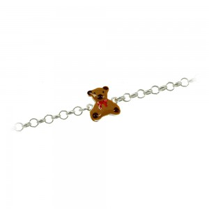 Bracelet for baby Teedy Bear motif Silver 925 degrees White gold plated Code 007239