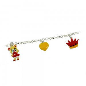 Bracelet for baby Crown, little cat and heart motif Silver 925 degrees White gold plated Code 007244