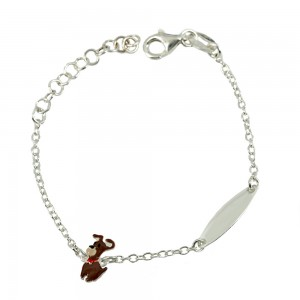 Bracelet for baby Puppy motif Silver 925 degrees White gold plated Code 007248