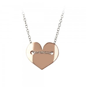 Necklace of Silver 925 Pink and white gold plated Code 007364