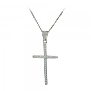 Cross with chain, silver 925 White gold plated Code 007641