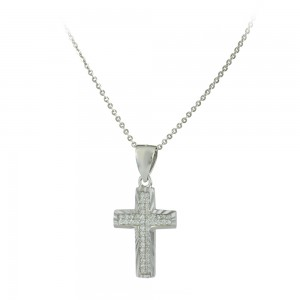 Cross with chain, silver 925 White gold plated Code 007643