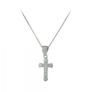 Cross with chain, silver 925 White gold plated Code 007646