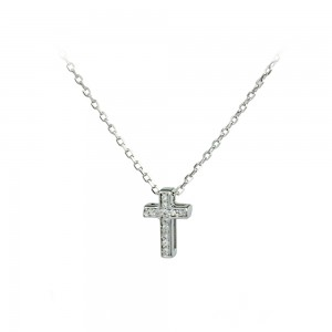 Cross with chain, silver 925 White gold plated Code 007647