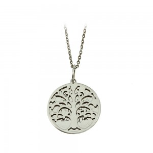 Necklace of Silver 925 Tree of life White gold plated Code 007677