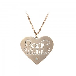 Necklace of Silver 925 Family in heart shape Pink gold plated Code 007678