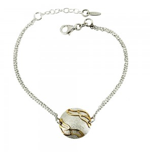 Bracelet of 925 Silver White and Yellow gold plated Code 007845