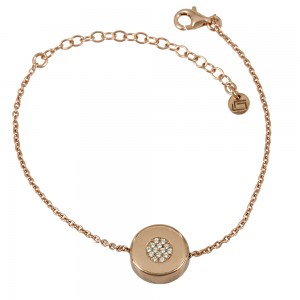 Bracelet of 925 Silver Pink gold plated Code 007857