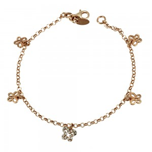 Bracelet of 925 Silver Butterfly Pink gold plated Code 007858