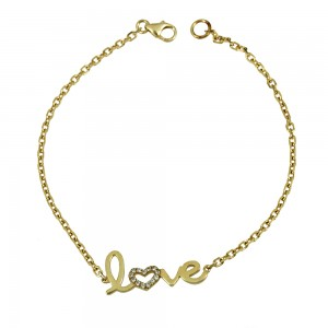 Bracelet of Silver 925 Love Yellow gold plated Code 007859
