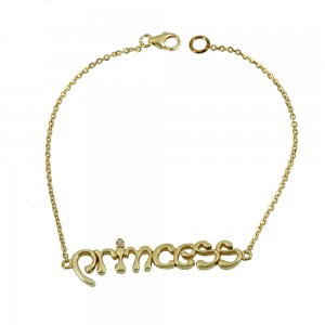 Bracelet of Silver 925 Princess Yellow gold plated Code 007860