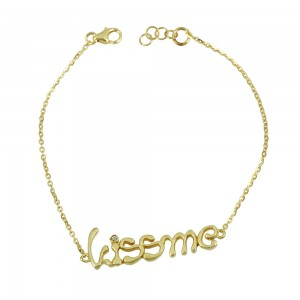 Bracelet of Silver 925 Kiss me Yellow gold plated Code 007861